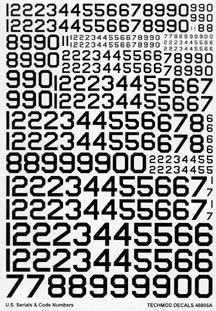 U.S. Serial and Code Numbers - 9 sizes (Black)  72110