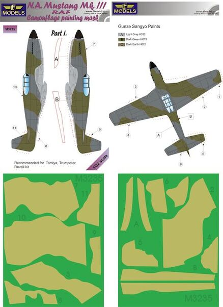North American Mustang MKIII RAF Camouflage Painting Mask Part 1  LFM3235