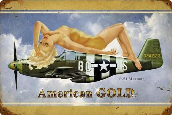 American Gold P-51 Mustang - pin up metal poster metal sign