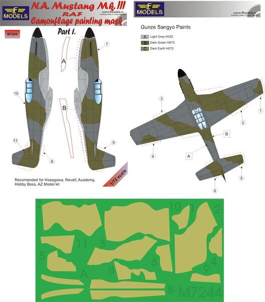 North American Mustang MKIII RAF Camouflage Painting Mask Part 1  LFM7244