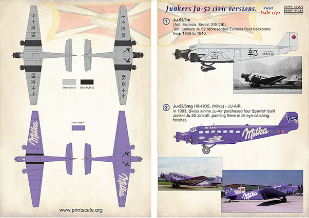 Junkers Ju52 Civic Versions Part 3  PRS72-279