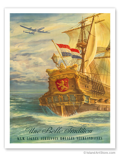 Une Belle Tradition (A Beautiful Tradition) - KLM Airlines  Vintage metal poster metal sign  MTSA4244
