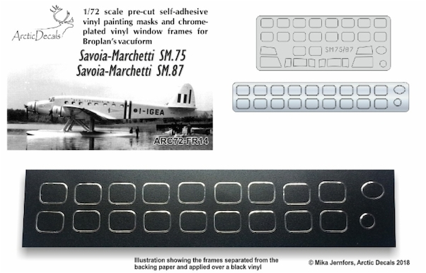 Savoia Marchetti SM75 and SM87 Pre cut Vinyl window masks and chrome plated window frames (Broplan)  ARC72-FR14
