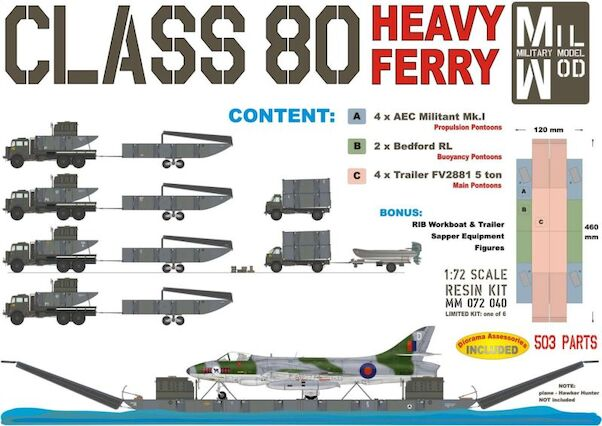 Class 80 FERRY incl. 2x Bedford RL, 4x Militant with Trailer and  RIB, Workboat & sapper tools  MM072-040
