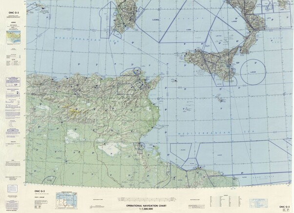 ONC G-2: Available: Operational Navigation Chart for Italy, Mediterranean Sea, Tunesia, Algeria, Lybia Available ! additional charts available within five working days. E-mail your requirements.  ONC G-2