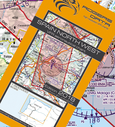 VFR aeronautical chart Spain North West 2018  ROGERS-ESP-NW