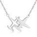 Stainless Steel Steel Color Double Horizontal Airplane Pendants Necklaces