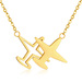 Stainless Steel Gold Color Double Horizontal Airplane Pendants Necklaces